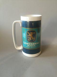 LOWENBRAU BEER MUG, Thermo serv mug,large beer mug,plastic outdoor mug,Blue beer mug,gift for dad,vintage advertising mug,promo mug