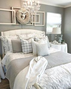 35 Relaxing Farmhouse Bedroom Design Ideas To Try In Your Home - Decorating your bedroom with white bedroom furniture has so many benefits that I don't see why anyone wouldn't, at the least consider, using this furn. Cozy Bedroom, Bedroom Curtains, Kids Bedroom, Bedroom Wallpaper, Bedroom Small, Master Bedrooms, Girl Bedrooms, Bedroom 2018, Bedroom Suites