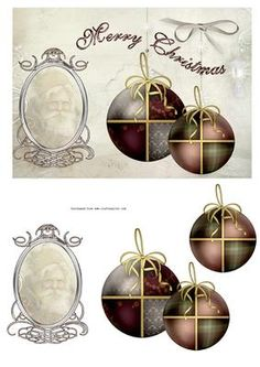 VINTAGE XMAS 1 on Craftsuprint designed by Carol Brown - lovely design to adorn any Christmas card,for that special person - Now available for download!