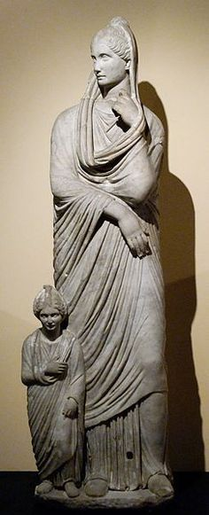 Marble figure of woman and girl, Imperial Rome 1st Cent. B.C. (in Centrale Montemartini, Rome, Italy)