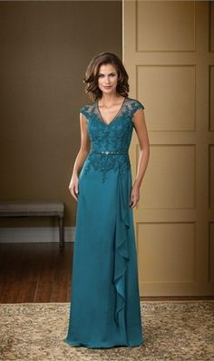 2016 Mother Of The Bride Dresses A-line V-neck Cap Sleeves Blue Chiffon Lace…