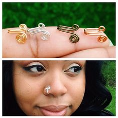 """It looks like the old """"hook and eye"""" fastener! Nose Ring Jewelry, Loc Jewelry, Copper Jewelry, Jewlery, Piercings, Diy Nose Rings, Handmade Copper, Handmade Jewelry, Wire Jewelry Designs"""