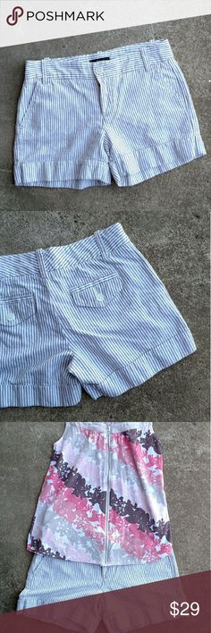 "Express Shorts Tan striped shorts with a touch of sparkle?? Waist to hem measures about 12"". Inseam measures about 4.5"". Express Shorts"