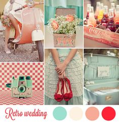 50s wedding inspiration board - peach, mint and red wedding