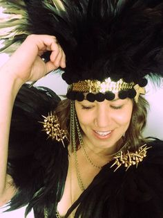 Large black studded mad max epaulettes, Burnig Man feather wings, festival feather wings, festival shoulderpiece, Burning Man festival style by feathersandthreaduk on Etsy