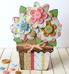 Pretty Button Flower Pot Card.  Perfect card for Mother's Day!