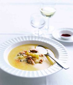 Mussel and saffron soup by Marco Pierre White (as seen here - https://www.facebook.com/photo.php?fbid=553379574727887=a.387898024609377.87650.177745305624651)