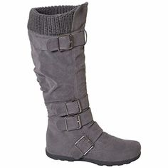 Women's Knee High Mid Calf Boots Ruched Suede Knitted Calf Buckles Rubber Sole…