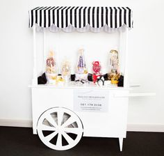 Our beautiful Sweet Cart is unique and chic and the perfect addition to your event.  Can be hired for weddings, parties, baby showers, and corporate events