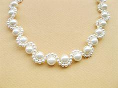 Wedding Jewelry Wedding necklace White Pearl by sa Beaded Jewelry Designs, Jewelry Design Earrings, Bead Jewellery, Pearl Jewelry, Jewelry Trends, Pearl Necklaces, Bling Jewelry, Jewelry Necklaces, Bridal Necklace