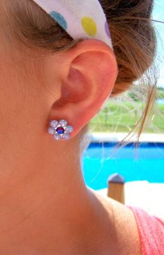 Stomach Cancer Awareness Crystal Flower Earrings - ...I think I need these... They are me...simple yet elegant...~CRuebel~