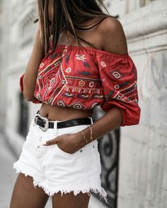 Off shoulder boho crop top with mini skirt - summer fashion