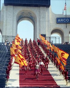 Peristyle entrance, 1970s Usc Athletics, Sports Fights, Marching Band Humor, Dream School, University Of Southern California, Usc Trojans, Alma Mater, Troy, College Football