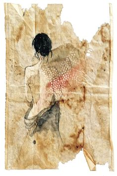 "RUBY SILVIOUS Painting on Used Tea Bag 4"" x 6"" Gouache and marker, 2015 #tea_bag_art"