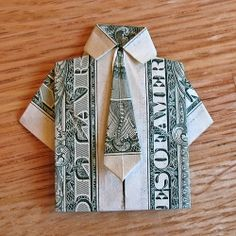 origami shirt with tie dollar fold - Heather Medes repin