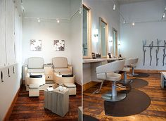 Work stations at the Calleis Salon and Spa lite by SORAA MR16 LED lamps