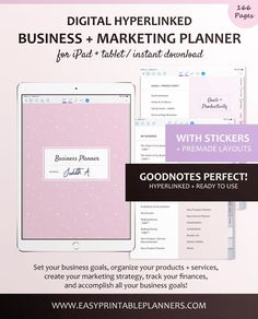 Digital Business Planner for iPad or Tablet Business Planner. Plan all areas of your business in your iPad or tablet with the app GoodNotes, Notability, or Xodo. Start digital planning for your business #digitalplanner #digitalplanning #businessplanner #businessplanning #goodnotes #planningcommunity #planneraddict