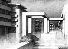 Shadow Architecture, Architecture Concept Drawings, Architecture Sketchbook, Modern Architecture House, Architecture Design, Architectural Drawings, Landscape Sketch, Perspective Drawing, Color Theory