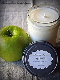 Crisp Apple Soy Wax Candle in 8 oz Jelly Jar by HarmonyFarmCandles, $9.00