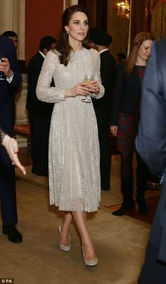 On Monday, the royal opted for an Erdem gown. Feb 27 2017. Catherine Kate, lace, sparkle dress, shoes, pumps, high heels, jewelry, wine glass, earrings, hair half up half down, beautiful, elegant.