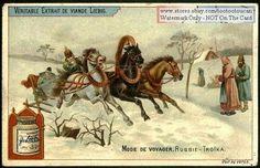 Russian Troika Three Horse Snow Sleigh c1898 Card