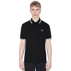 Fred Perry Laurel Collection Twin Tipped Polo Shirt- BLACK / WHITE (Made In England!)