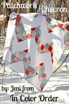 Moda Bake Shop: Patchwork Chevron Quilt - great practice for making nine patch and hacking it apart - LOL!