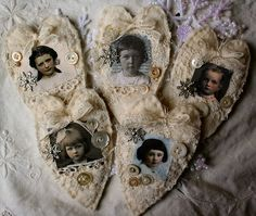 Print photos of people you love / family on fabric & sew them on hearts!! Can be used as Christmas tree ornaments or whatever!!