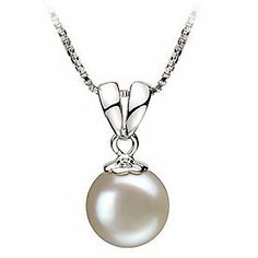 PearlsOnly Sally White 9.0-9.5mm AA Freshwater Silver With Rhodium Plated Cultured Pearl Pendant PearlsOnly. $55.00