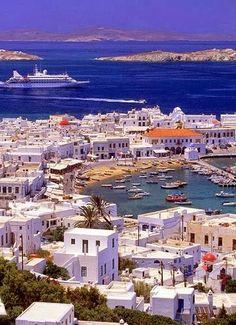 Mykonos, Greece Bleu Et Blanc