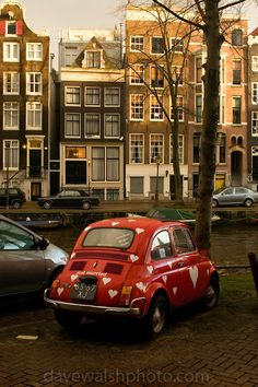 """Just Married"""", Fiat 500 by canal, Amsterdam"""
