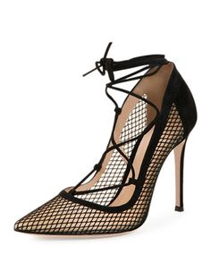Gianvito Rossi Mesh Lace-Up Point-Toe Pump 5d3bb087b07c