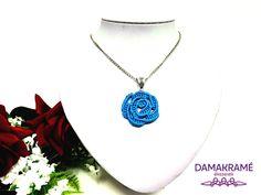 Rózsa makramé nyaklánc – kék – DAMAKRAMÉ Pendant Necklace, Jewelry, Fashion, Moda, Jewlery, Bijoux, Fashion Styles, Schmuck, Fasion