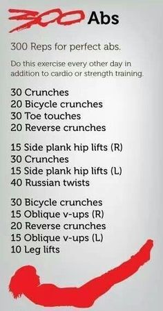 300 Abs! 300 reps for perfect abs! Do this exercise every other day in addition to cardio or strength training. #greatabsworkout #perfectcoreworkout #getperfectabs