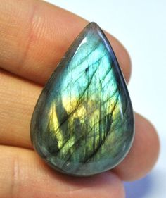 Natural Labradorite Tear Drop Cabochon AAA  33.0 x 22.7 mm by AliveGems
