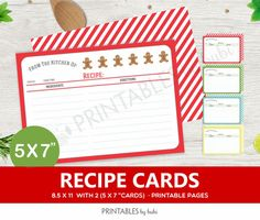 Recipe Cards Instant Download 5 x 7