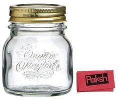 AmazonSmile: Canning Bundle - Quattro Stagioni [12 Piece] 5 oz, Glass Decorative Mason Jar Set for Canning / Spice / Jelly / Jam, Gift Boxed - Bundled with Cloth: Kitchen & Dining