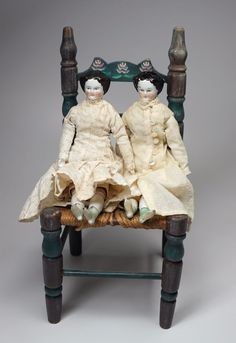 2 Antique German Porcelain China Dolls Cloth Body Original Period Clothing 8.5""