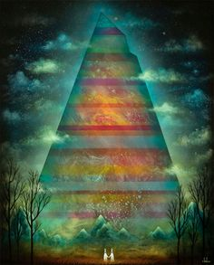 Pittsburgh-based mixed media artist Andy Kehoe creates imaginary forests where vibrant mysticism grows wild. His tableaux feature strange creatures that appear part human, part animal, rendered tiny amid towering trees and shimmering celestial skies or sometimes taller than the woods themselves, as if one and the same with the earthly landscape. To build each enchanting scene, Kehoe paints on top of layered resin, building shadow and dimension between the surreal subjects and their…