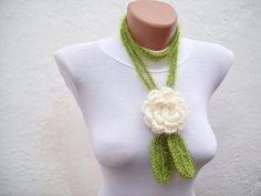 Women Flower Accessories Crochet Lariat Scarf Leaf by scarfnurlu