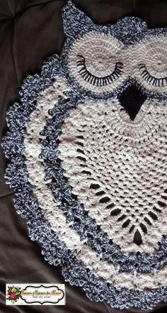 pattern not in english. Owl Crochet Patterns, Crochet Mandala Pattern, Crochet Owls, Doily Patterns, Crochet Chart, Crochet Home, Crochet Animals, Crochet Designs, Crochet Doilies