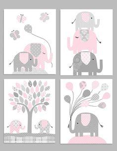 Elephant Nursery Decor, Gray and Pink, Girl Zoo Nursery, Elephant Wall Art, Safa. Elephant Baby Rooms, Elephant Nursery Wall Decor, Elephant Wall Art, Safari Nursery, Nursery Art, Girl Nursery, Girl Room, Grey Elephant, Elephant Birthday