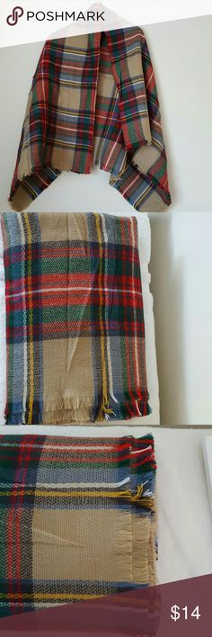 Blanket Tartan Scarf Wrap Camel Red New new, zara inspired, no tag, no label, high quality ,100% acrylic , soft like cashmere, measurement 140x140 cm, warm Accessories Scarves & Wraps