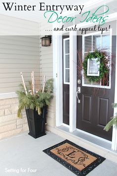 Winter Entryway DIY Decor Ideas - great way to add curb appeal all winter long! See my urn decor and winter wreath! www.settingforfour.com