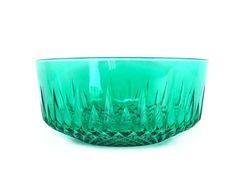 Vintage Glass Bowl Emerald Green Pressed Glass French Arcoroc Serving Dish Diamond Starburst Pattern Glassware