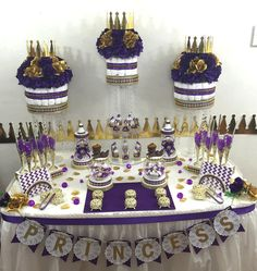 PURPLE & GOLD Prince/Princess Candy Buffet Diaper Cake Centerpiece with Baby…