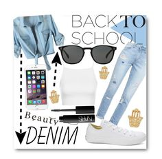 """""""back to school in denim"""" by stylist-couture ❤ liked on Polyvore"""