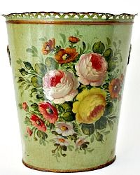 Exceptional Antique French Oval Tole Jardiniere Roses