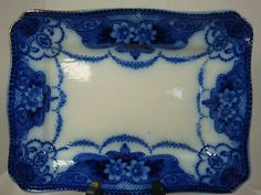 "Gorgeous Flow Blue Square Serving Dish ""Burslem Douglas Ford Sons"" 
