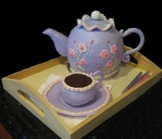 teapot cake – Frazi\'s cakes Unique Cakes, Elegant Cakes, Fondant Cakes, Cupcake Cakes, Teacup Cupcakes, Cup Cakes, Teapot Cake, Cake Writing, Love Cake